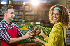 Smiling male staff assisting a woman with grocery shopping. Smiling male staff assisting a women with grocery shopping in supermarket Royalty Free Stock Photo
