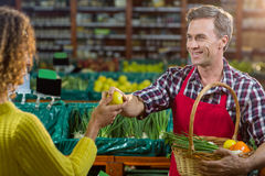 Smiling male staff assisting a woman with grocery shopping. Smiling male staff assisting a women with grocery shopping in supermarket Stock Image