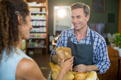 Smiling male staff giving packed bread to woman. Smiling male staff giving packed bread to women in supermarket Royalty Free Stock Image
