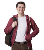 Smiling male student with a backpack Royalty Free Stock Photo