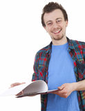 Smiling male student with clipboard. White background Stock Photo