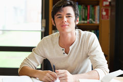 Smiling male student writing an essay. In a library Royalty Free Stock Photo