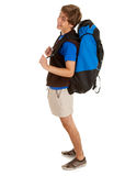 Smiling male tourist with backpack, full length. White background Royalty Free Stock Photos