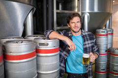 Smiling male worker holding beer glass while standing at factory. Portrait of smiling male worker holding beer glass while standing at factory Stock Images