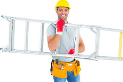 Smiling male workman carrying ladder Stock Photos