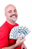 Smiling man with $ 100 bills Stock Image