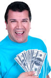 Smiling man with 100  bills Stock Image