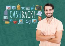 Smiling man with arms folded and Cashback text with drawings graphics Stock Photography