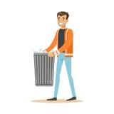 Smiling man arrying garbage bin, waste recycling and utilization concept. Smiling man arrying garbage bin, waste recycling and utilization concept vector Royalty Free Stock Photos