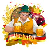Smiling man with beer mugs. Oktoberfest label with ribbon banner, ears of wheat and, accordion colorful autumn leaves. Image isolated on white stock illustration
