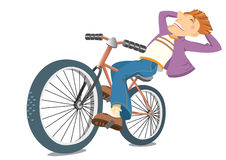 Smiling man on bike.Vector bicyclist isolated on w Stock Image