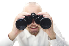 Smiling man with binocular Royalty Free Stock Photo