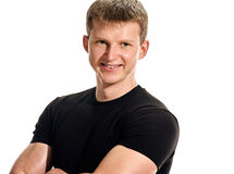 Smiling man black shirt portrait Royalty Free Stock Images