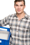 Smiling man with blue box Stock Photo