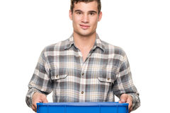 Smiling man with blue box Royalty Free Stock Photography