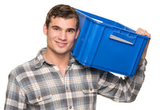 Smiling man with blue box Royalty Free Stock Photos