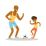Smiling man and boy playing soccer, dad and son having good time together colorful characters Royalty Free Stock Images