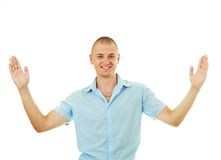 Smiling man bragging Royalty Free Stock Photo