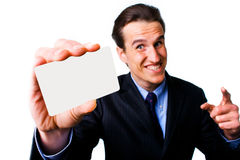 Smiling man with business card Stock Image