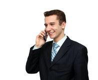 Smiling man calling by phone Royalty Free Stock Photography