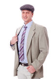 Smiling man in casual business outfit and hat isolated Royalty Free Stock Photography