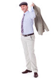 Smiling man in casual business outfit and hat isolated Stock Photography