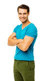 Smiling Man In Casuals Standing Arms Crossed Royalty Free Stock Image