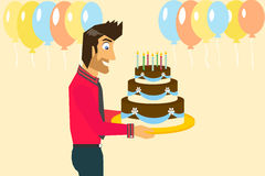 Smiling man is celebrating birthday Royalty Free Stock Photo