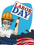 Smiling Man Celebrating Labor Day with American Flag, Vector Illustration Royalty Free Stock Images