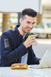Smiling man with coffee and sandwich working on laptop Royalty Free Stock Photo