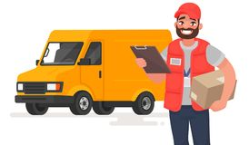 Smiling man courier with parcel on the background of a lorry. Vector illustration. In cartoon style royalty free illustration
