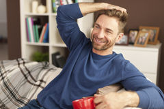 Smiling man with cup of coffee Royalty Free Stock Photo