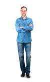 Smiling man in denim shirt isolated on the white background Royalty Free Stock Images