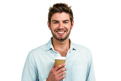 Smiling man with disposable cup Royalty Free Stock Photos