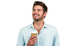 Smiling man with disposable cup Royalty Free Stock Photography