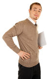 Smiling man with documentation. Smiling business man with documentation isolated on white stock photography