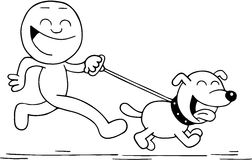 Smiling Man and Dog Running. Hand drawn cartoon of smiling man running or walking with smiling dog Royalty Free Stock Photography