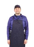 Smiling man dressed in apron. Royalty Free Stock Photo