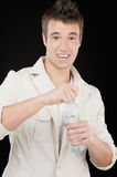 Smiling man drinks water Stock Photo