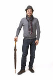 Smiling man in elegant clothes man with umbrella Royalty Free Stock Photo