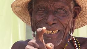 Smiling man of elmolo tribe stock footage