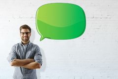 Smiling man with empty speech bubble Royalty Free Stock Image