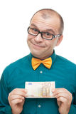 Smiling man with european money Royalty Free Stock Photos
