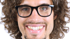Smiling Man Face, Close Up, Curly Hairs Royalty Free Stock Image