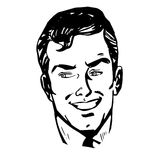 Smiling man face retro line art Stock Images
