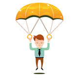 Smiling man fall on a golden parachute. Smiling man in tie fall on a golden parachute Royalty Free Stock Photos