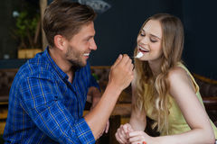 Smiling man feeding woman Royalty Free Stock Photos