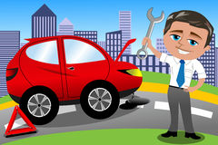 Smiling Man Fixing His Broken Car. Illustration featuring smiling Bob next to broken car holding spanner and ready to fix it. Eps file is available. You can find Royalty Free Stock Image