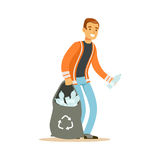 Smiling man gathering garbage and plastic bottles, waste recycling and utilization concept vector Illustration. On a white background Stock Images