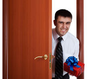 Smiling man with gift Stock Photo